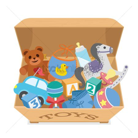 Teddybear : A box filled with toys