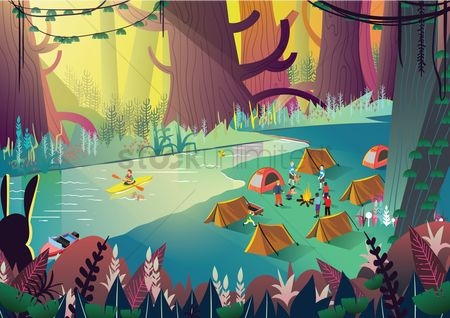 Cartoon : A campsite with many people