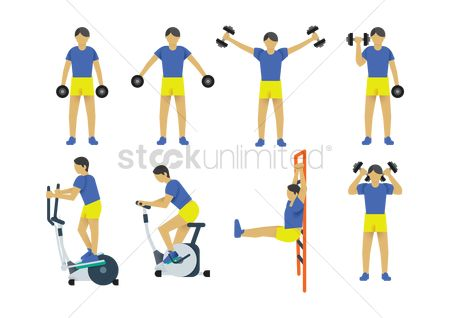Strength exercise : A collection of a man working out