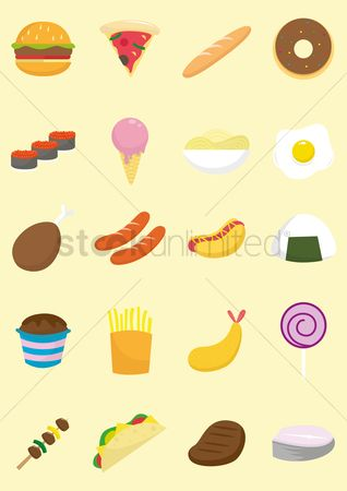 Hotdogs : A collection of food items