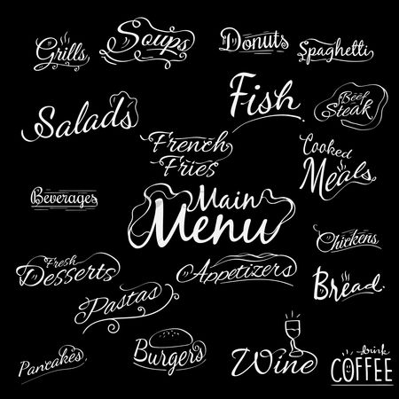 French : A collection of menu titles