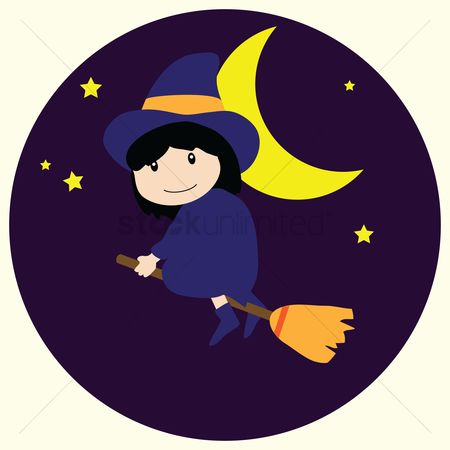 Broom : A cute witch girl riding a magical flying broom