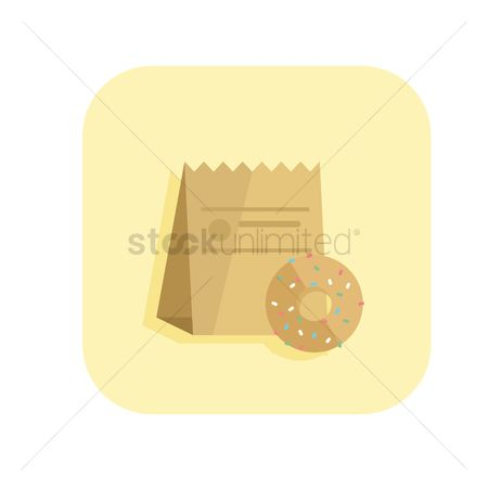 Snack : A doughnut and a paper bag