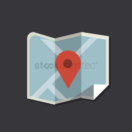 Map pin : A folded map with location pointer