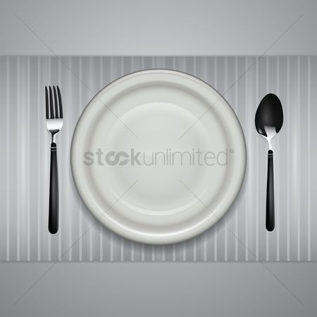 Dinner : A plate with a fork and spoon