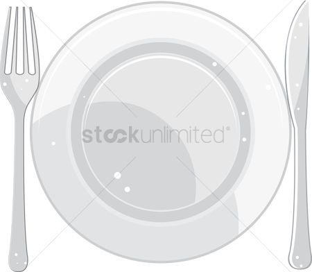 Dine : A plate with fork and knife