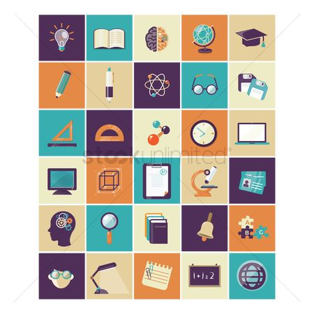 Blackboard : A set of education icons