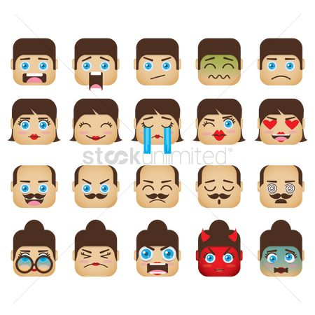Annoy : A set of family emoticon showing various facial expressions