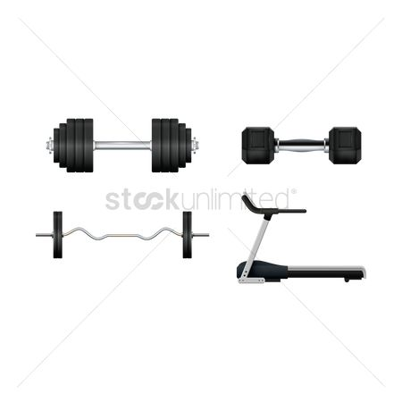 Strength exercise : A set of gym equipments
