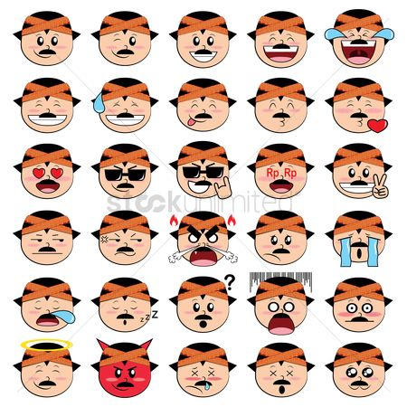 Annoy : A set of man emoticon showing various facial expressions