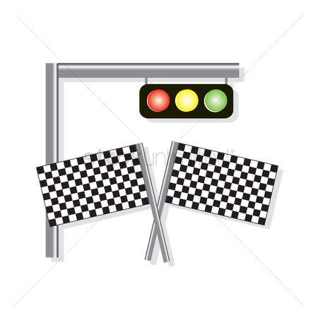 Background : A traffic light and racing flags