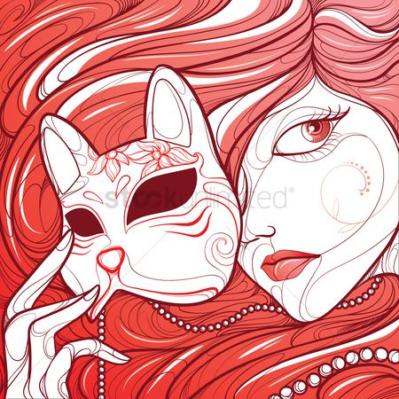 Flow : A woman with a feline mask