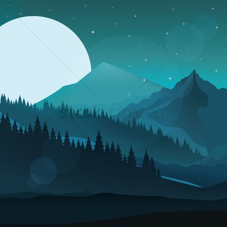 Moon : Abstract landscape of mountains