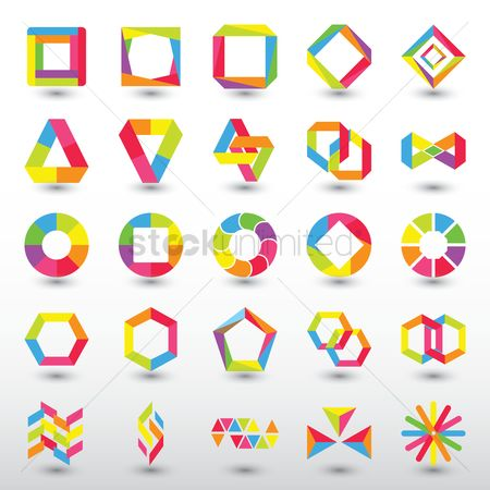Dimensional : Abstract logo element set
