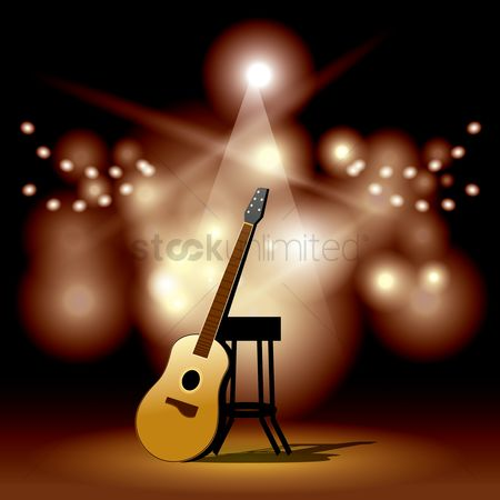 Classic : Acoustic guitar and stool on the stage