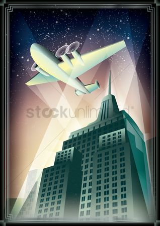 Lighting : Aeroplane and building