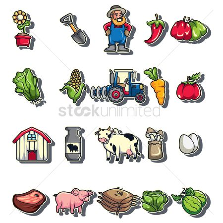 Cow : Agricultural stickers