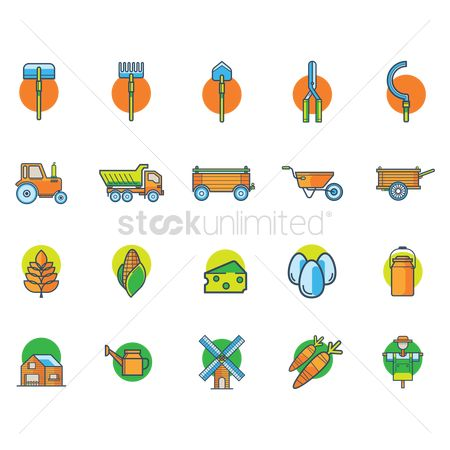 Dairies : Agriculture icon set