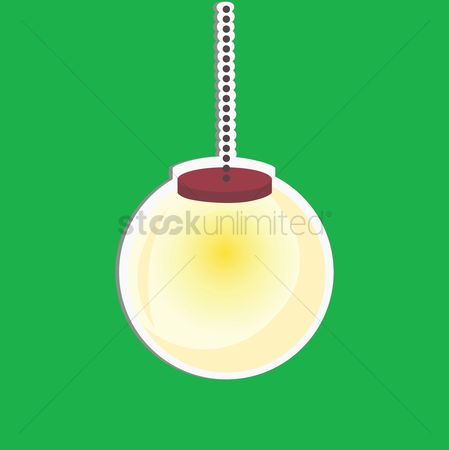 Interior : An hanging lamp on green background