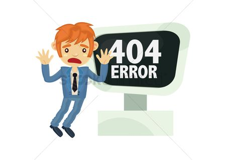 Errors : Angry businessman with 404 error
