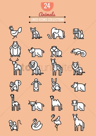 Linear : Animals icon collection