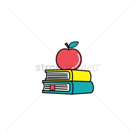 Stack : Apple on books