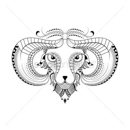 Horoscopes : Aries zodiac intricate design
