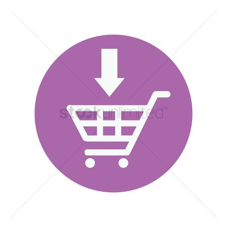E commerces : Arrow pointing at shopping cart icon