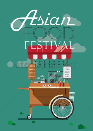 Food cart : Asian food festival poster