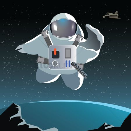 Cosmonauts : Astronaut floating on a planet