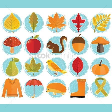Umbrella : Autumn themed vectors