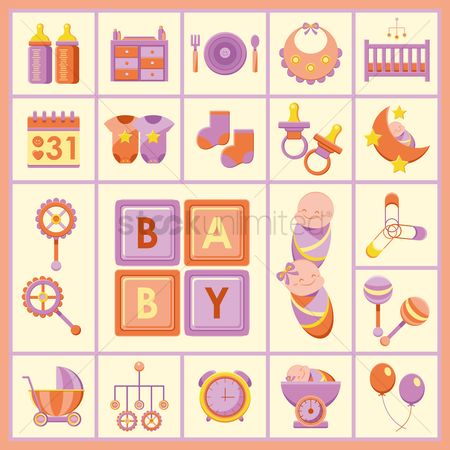 Blocks : Baby products icons