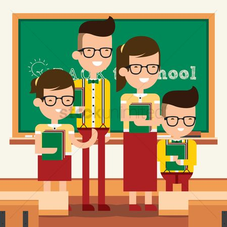 Sons : Back to school concept with family in classroom