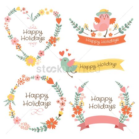 Holiday : Banners and floral frames