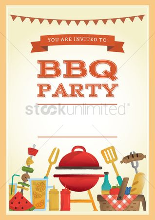 Cloth : Bbq party invitation