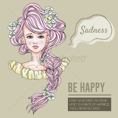 Lady : Be happy motivational quote