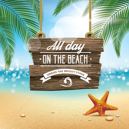 Starfishes : Beach background with signboard