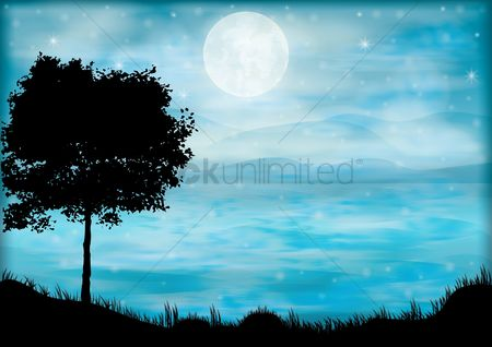 Moon : Beautiful night landscape