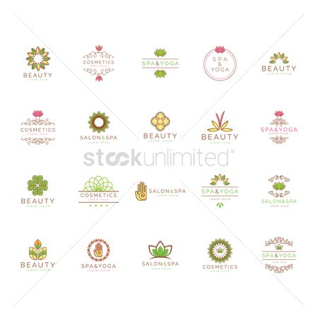 Cosmetic : Beauty and spa logo element set