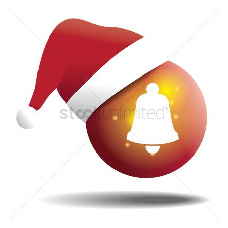 Jingle bells : Bell on glass ball with santa hat