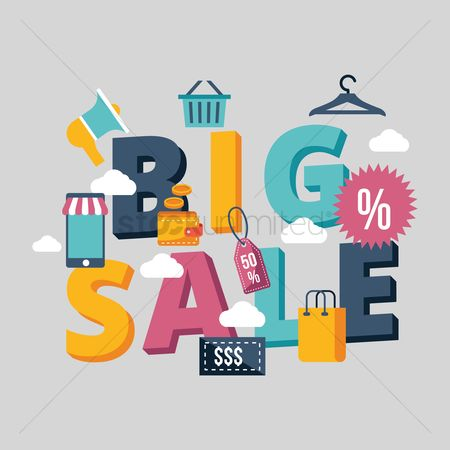 E commerces : Big sale lettering design