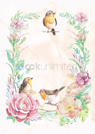 Spring : Birds and flowers frame design