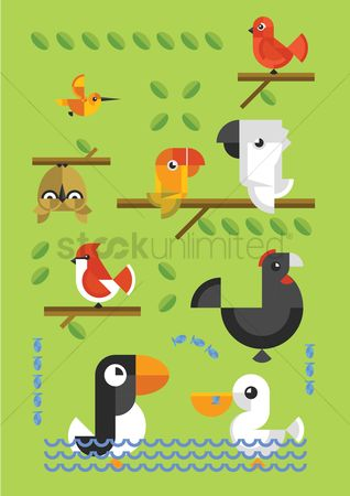 Duck : Birds sitting on wooden stick