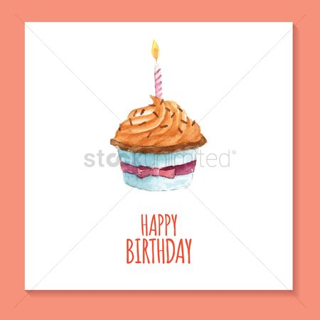 Topping : Birthday card with cupcake