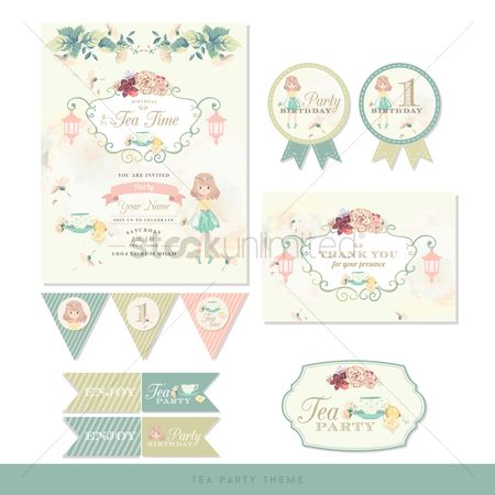 Sets : Birthday tea party card