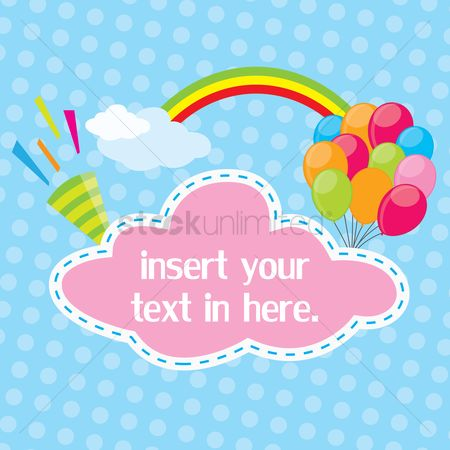 Rainbows : Birthday template on dot background