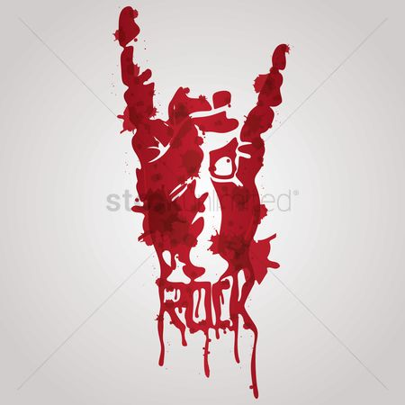 Dripping : Bloody rock and roll hand gesture