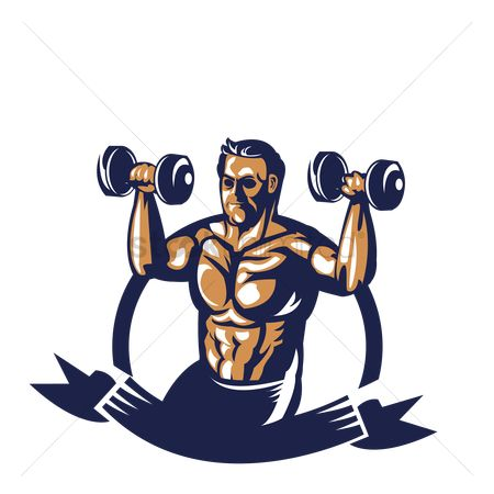 Poster : Bodybuilder lifting dumbbell poster