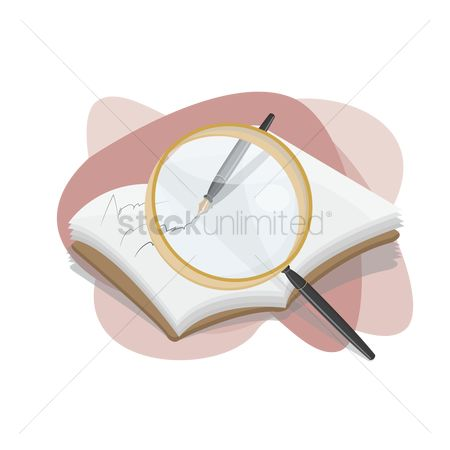 Write : Book and magnifying glass