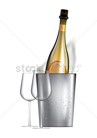 Liquor : Bottle and glass of champagne poster design